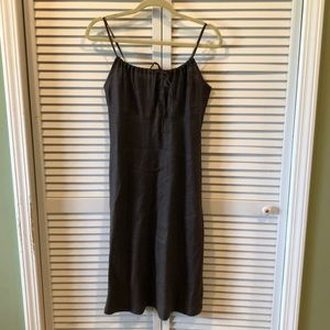 Vtg UO 90s brown linen midi dress md